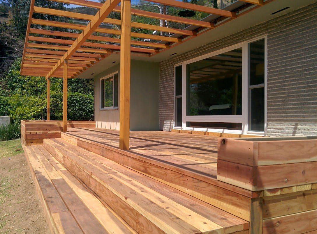 Home yourdeckbuilder redwood deck pergola and planter boxes hollywood hills baanklon Image collections